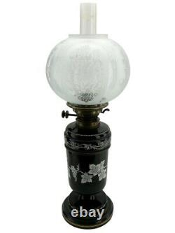 Hinks Duplex Oil Lamp Magnificently Hand Painted Black Ceramic Base
