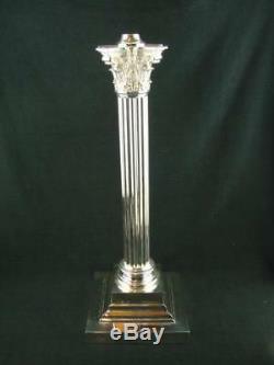Huge 19 Victorian, Cast Brass, Silver Plated Corinthian Column Oil Lamp Base