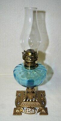 Internally Ribbed Turquoise Blue Font Fount On Cast Iron Base Kerosene Oil Lamp