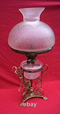 J HINKS & Sons Phoenix Desk Table Oil Lamp Frosted Cut Glass Early 20th C