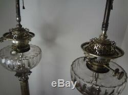 James Hinks & Sons Victorian Silver-Plate Oil Lamps with Glass Fonts