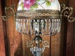 John Scott Victorian style 2 wick Oil Lamp Three Women Ladies hand painted Globe