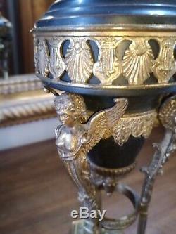 Lampe Pétrole Tripode Bronze Empire Cariatide Satyre Oil Lamp Victorian