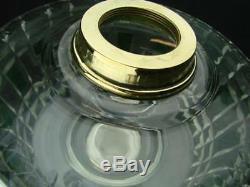 Large Antique Clear Facet Cut Crystal Oil Lamp Font, Green Facet Decoration