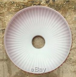 Large Antique Pink Glass Overlay Oil Lamp Shade