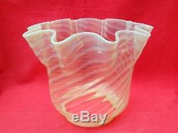 Large Antique Victorian Vaseline Glass Oil Lamp Shade. Hinks 4 Fitting