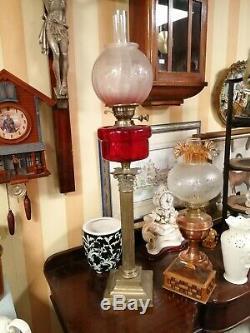 Large Victorian Corinthian column Cranberry Glass oil lamp