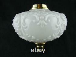 Large Victorian Moulded White Glass Oil Lamp Font, Art Nouveau Decoration