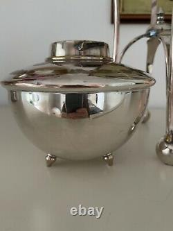 Large WAS BENSON silver plate oil lamp with font, lion paw feet