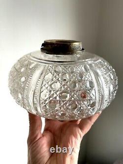 Large antique hobnail oval oil lamp font
