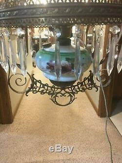 Late 1800s Victorian Hanging Parlor Library Kerosene Oil Electrified Lamp 14