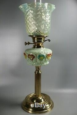 Late Victorian Hand Painted Oil Lamp Well/ Vaseline Glass Shade