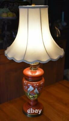 Lovely Antique Victorian Era Hnd Ptd Bird Motif Bristol Glass Oil Lamp Converted