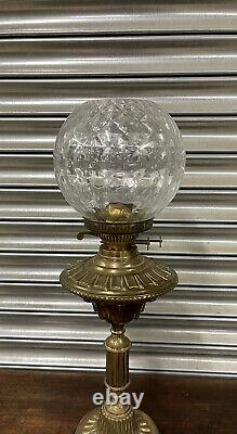 Lovely Ornate Victorian Duplex Oil Lamp With Glass Shade A/F