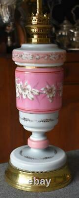 Lovely Pink White Floral Antique Kosmos Brenner Oil Lamp Converted 2 Electricity