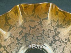 Lovely Small Antique Oil Lamp Shade, Graduated Amber Etched Glass, 3 Fitter