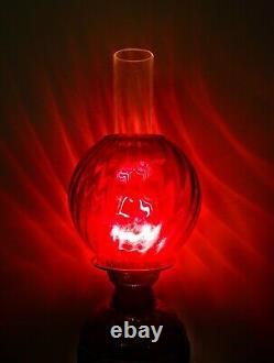 Majolica Antique German Oil Lamp Pottey Glass Font Metal Enamel base Ruby Shade