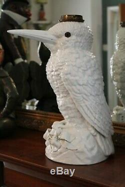 Massive 18 Rare Sitzendorf Porcelain Kingfisher Duplex Sized Oil Lamp