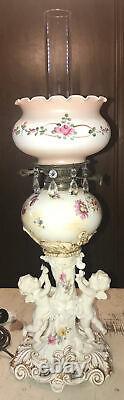 Moore Bros Hand Painted Flora Antique Porcelain Cherub Converted Oil Lamp 1800s