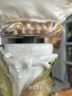 Moore foliate encrusted large oil lamp