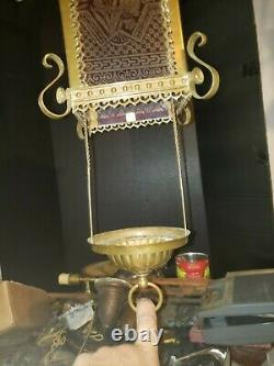 Nice Ornate Victorian Eastlake Pull Down Oil LAMP Cranberry Etched Glass & Brass