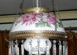 Numbered Hand Painted Milk Glass Hanging Kerosene Oil Lamp Shade