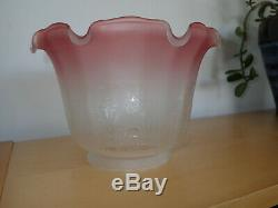 ORIGINAL 4 inch fit ETCHED CRANBERRY TULIP SHADE for an OIL LAMP, Glass signed