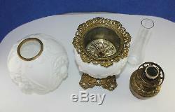 ORIGINAL Victorian GWTW Ornate Embossed Cherub Angel Banquet Milk Glass Oil Lamp