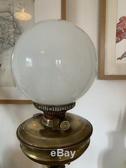 Original Antique Brass Oil Lamp Corinthian Victorian Duplex