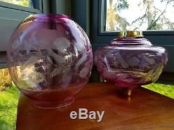 Original Cranberry Cut Glass Oil Lamp Matching Shade Font 39mm collar 21mm umnt