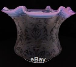 Original Pink Opalescent Acid Etched Duplex Oil Lamp Shade