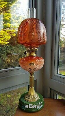 Original Victorian Arsenic Orange Etched glass shade Oil Lamp Font Burner Duplex