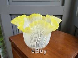 Original Victorian Clichy Nailsea Lemon Yellow Glass Oil Lamp Shade Duplex 4 ins