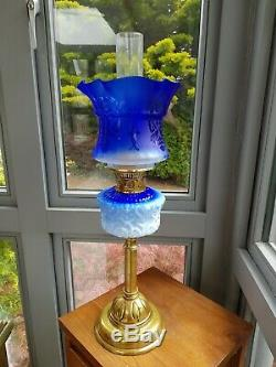 Original Victorian Cobalt Blue Glass Oil Lamp Font Burner Base with Later Shade