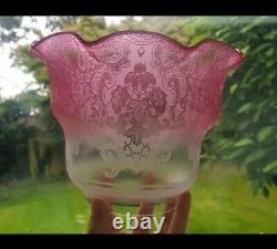 Original Victorian Cranberry glass tulip crystal etched floral oil lamp shade 4