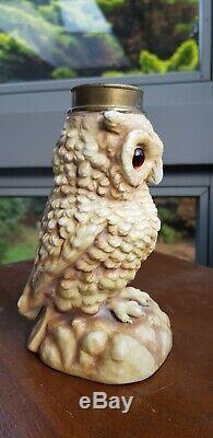 Original Victorian German Owl Oil Lamp Ceramic China Porcelain Glass Eyes A1