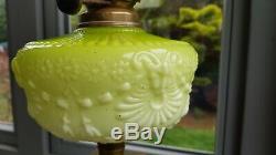Original Victorian Lime Green Etched glass shade Oil Lamp Font Burner Duplex