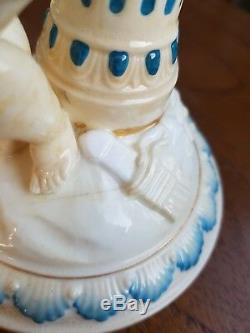 Original Victorian Pair Copeland Putti Cherub China Ceramic Oil Lamp Bases 30cm