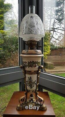 Original Victorian Royal Doulton Lambeth Carrara Oil Lamp Messengers Ceramic A1