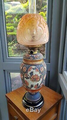 Original Victorian Taylor Tunnicliffe Orange Blue Oil Lamp Hinks PotteryCeramic