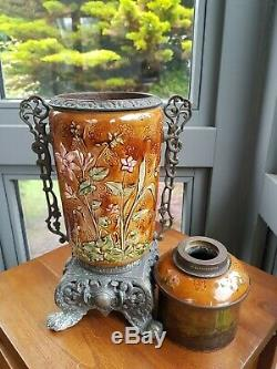 Original Victorian Zsolnay Pecs Budapest Style Majolica Oil Lamp Ceramic China
