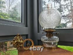 Original Victorian cut glass oil lamp font shade burner drop in wall bracket