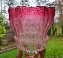 Original victorian cranberry acid etched glass kerosene paraffin oil lamp shade