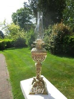 Outstanding Antique Victorian Cranberry Hinks & Sons Cast Brass Oil Lamp