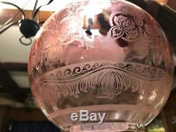 Outstanding Cranberry/ Ruby glass original Victorian Oil Lamp etched shade