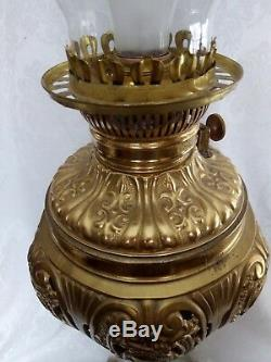 Outstanding VICTORIAN GWTW Bronze/Onix Oil Lamp Hand Painted Globe Converted 36