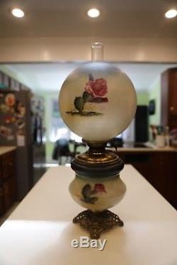 P. L. B. & G Co, Oil Lamp Gone With The Wind Hand Painted Rare Not Electrified