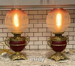 PAIR Antique 1880's Bradley and Hubbard Signed Oil Lamps Electrified STUNNING