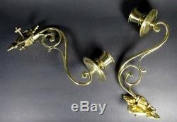 PAIR French Oil Lamp Antique Victorian Enameled Glass Bronze Wall Piano Sconce