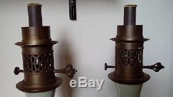 PAIRE DE LAMPES A PETROLE NAPOLEON III XIXème-OLD OIL LAMP ENAMEL VICTORIAN 19TH